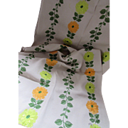 Linen Fabric with Embroidered Blossoms in Orange and Lime Green Plus Twining Leaves 1 1/2 Yards