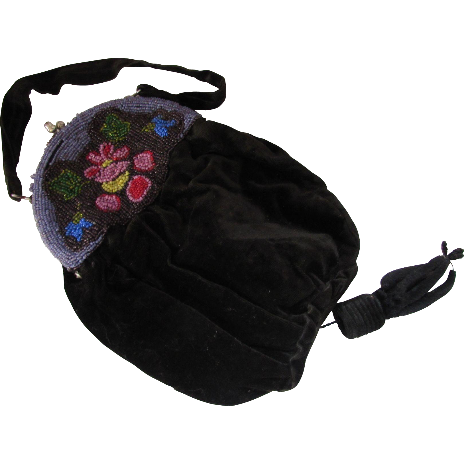 Black Velvet Pouch Purse withe Seed Bead Yoke in Purples and Pinks