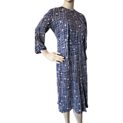 1940 Style Dress and Jacket in Rayon Navy and White Print
