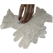 Ladies Gloves in Crochet Work with Irish Lace