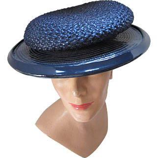 Mid Century Hat in Navy Straw and Patent Leather by Ken Blair