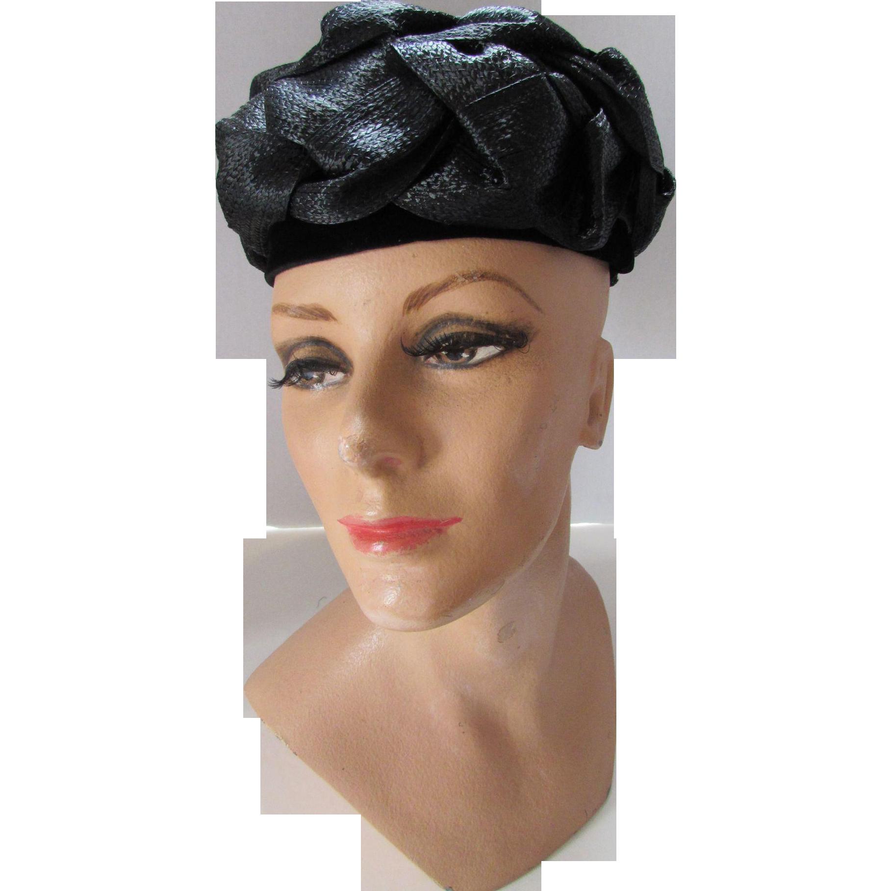Mid Century Black Hat in Poufs of Raffia Straw