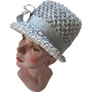Mid Century 1960 Cloche Hat in Powder Blue Cellophane Curls Union Made