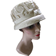 Helmet or Cloche Style Mid Century Hat in Cream Shantung