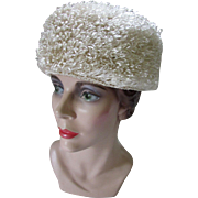 Mid Century Helmet Hat in Eggshell Cellophane Curls Made in Italy