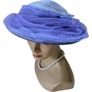 Mid Century Wide Brim Hat in Heliotrope Blue and Purple by Pasadena Hat