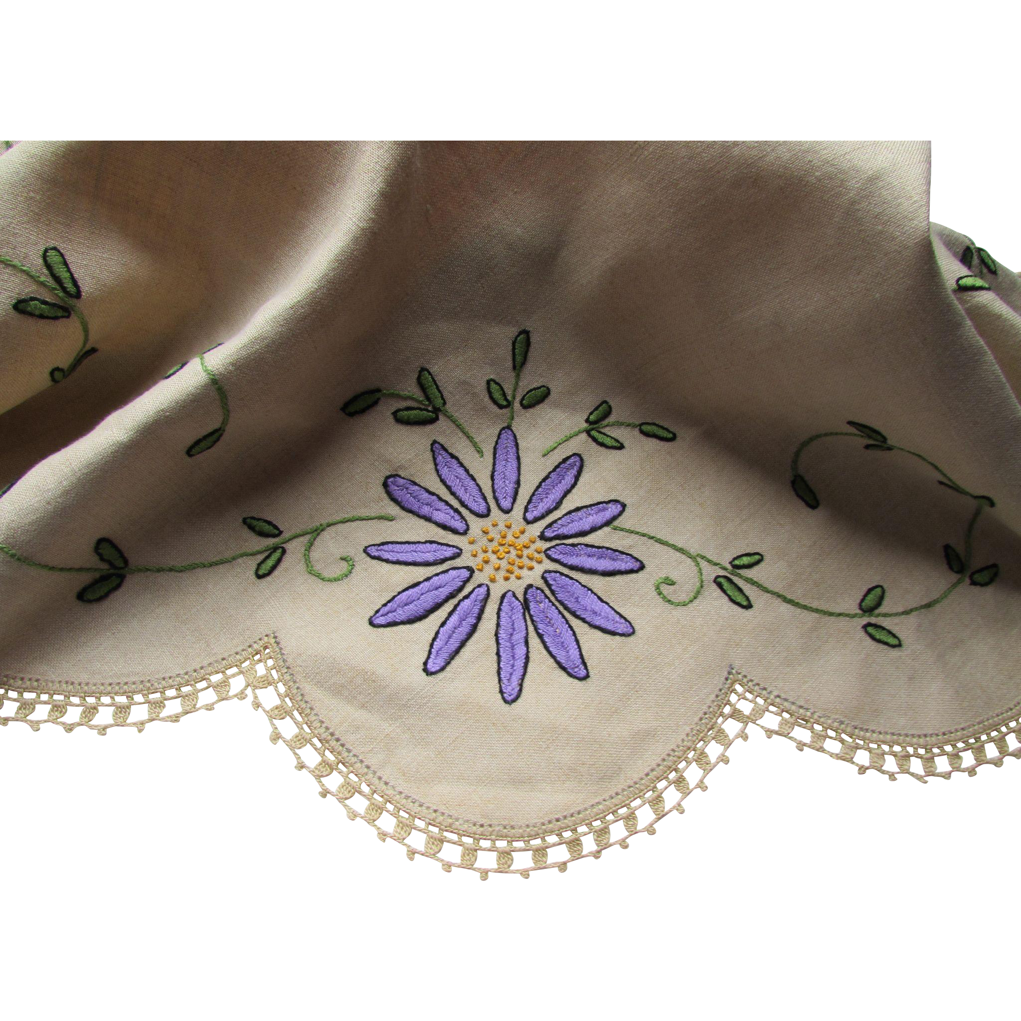 Ecru Linen Table Round Embroidered with Flowers and Vines