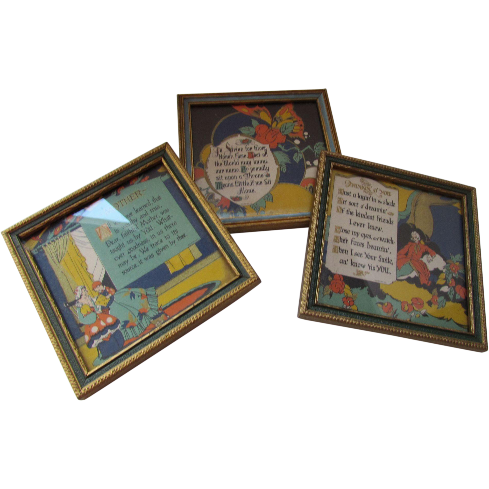 Trio Framed Poems or Homilies in 1930 Style Primary Colors