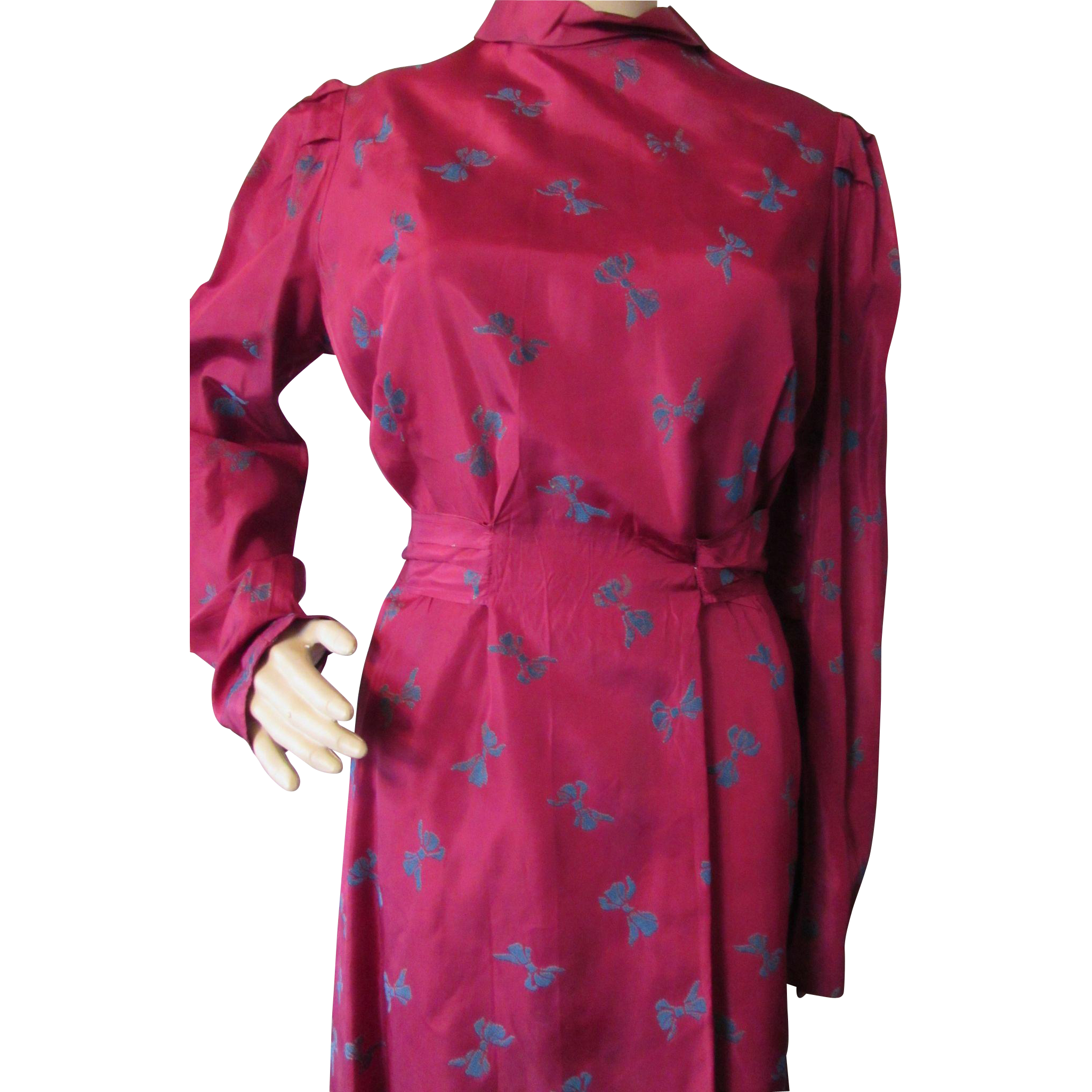 Two Piece 1940 Era Dress in Rose Taffeta by Maisonette Frocks Ward Stillson Anderson