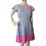 Mid Century Pinafore Apron in '50's Gray and Pink Print and Pink Accents