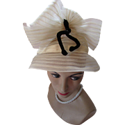 Unusual Sheer Hat in Cream Tone Weave High Crown with Black Velvet Bow
