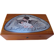 P Buckley Moss Wood Box by Lane with Painting of Mother and Baby 1996