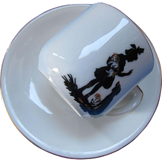 Child's Cup and Saucer Silhouette of Girl with Two Dogs Made in Germany