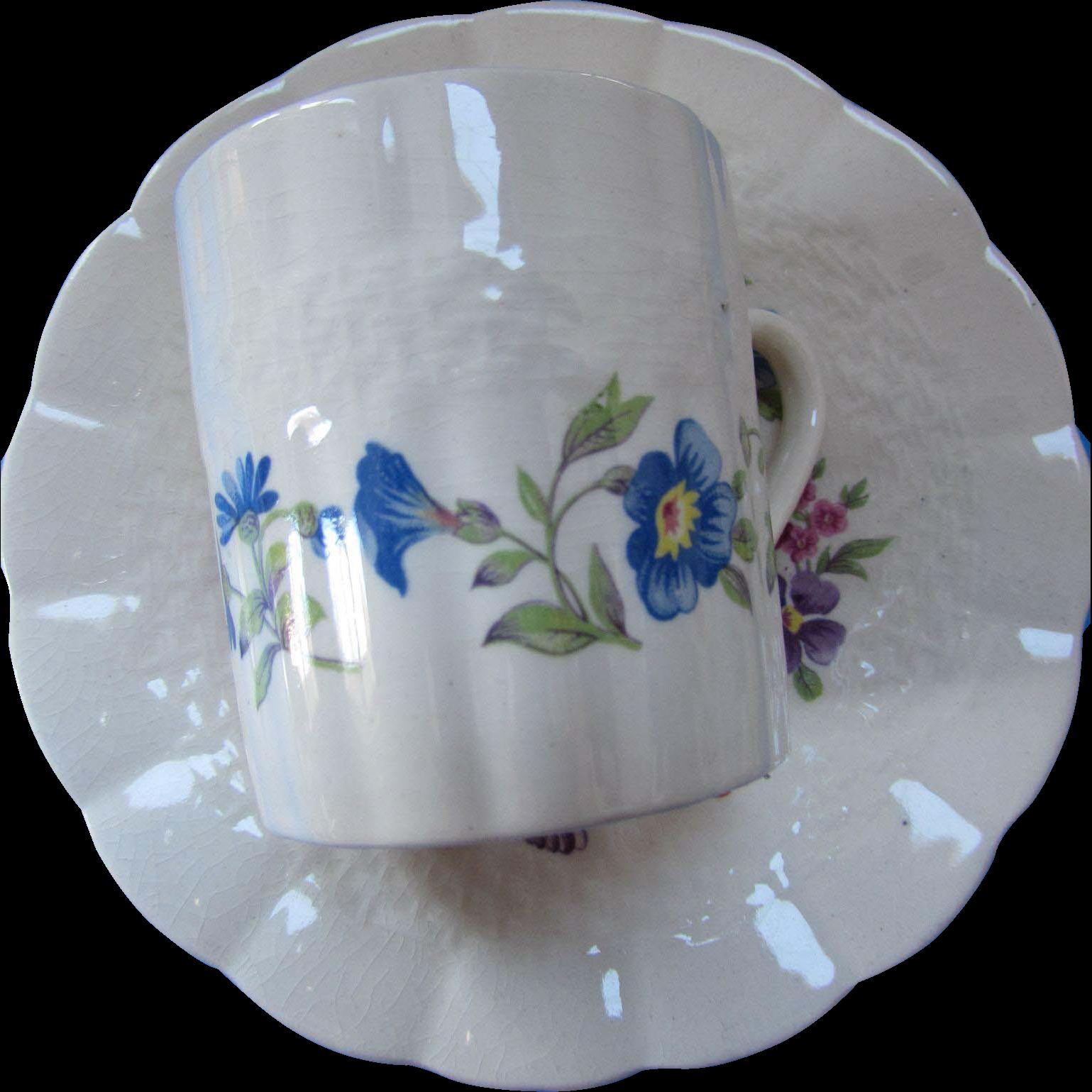 Flower Ring Demitasse Cup Saucer 6 Piece Set SOHO Potteries Ambassador Ware England Reedwoods Pattern