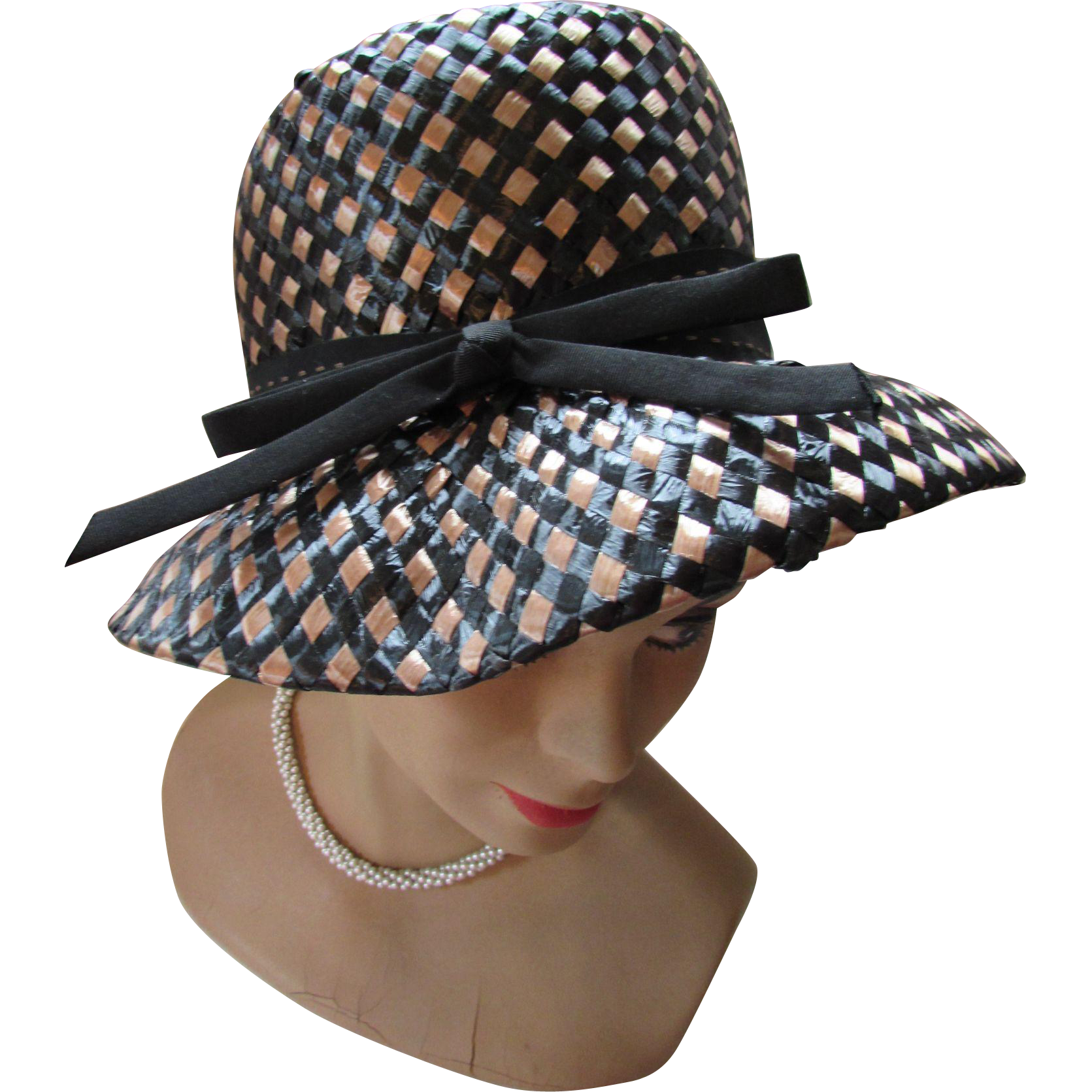Lampshade Style Woven Hat in Black and Cocoa by Mr. John Empress