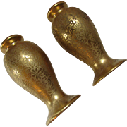 Pickard Salt and Pepper Shakers in Gold Tone Rose and Daisy
