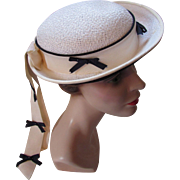 Summer Sailor Hat in White with Navy Bows by Cinderella for Girl or Woman