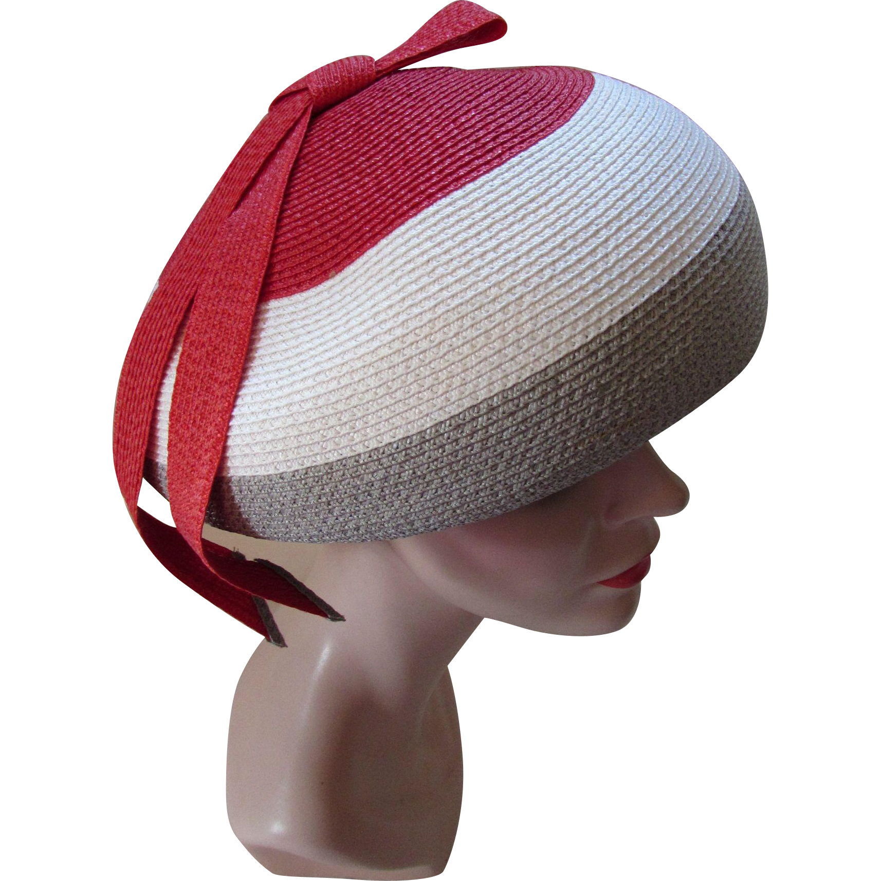 Mid Century Mushroom Hat in Cherry Red, Dove Gray and White  with Tab Bow Marshall Field & Company