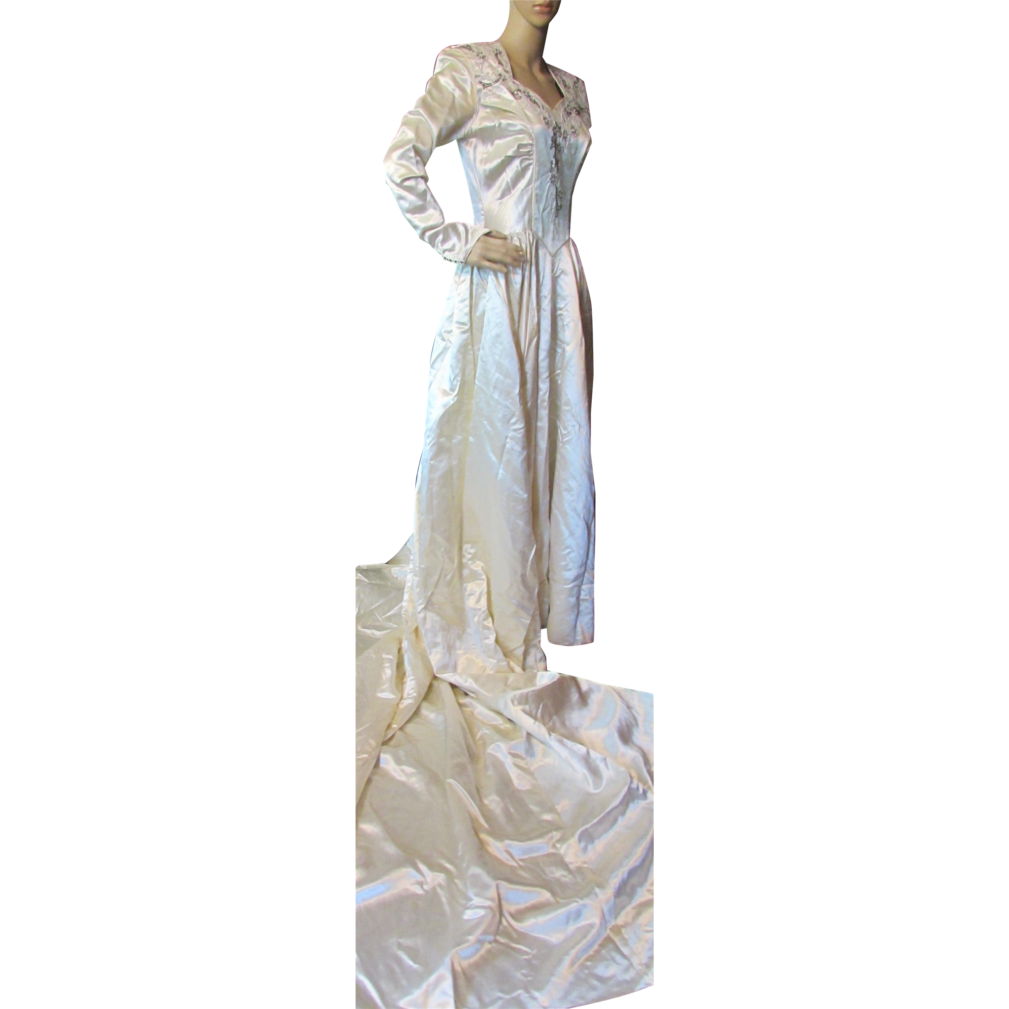 Mid Century Wedding Gown in White Satin with Bugle and Seed Beads Court Length Train