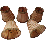 Set Five Deco Style Chandelier Shades Bell Shape Peach Satin Metallic Trim