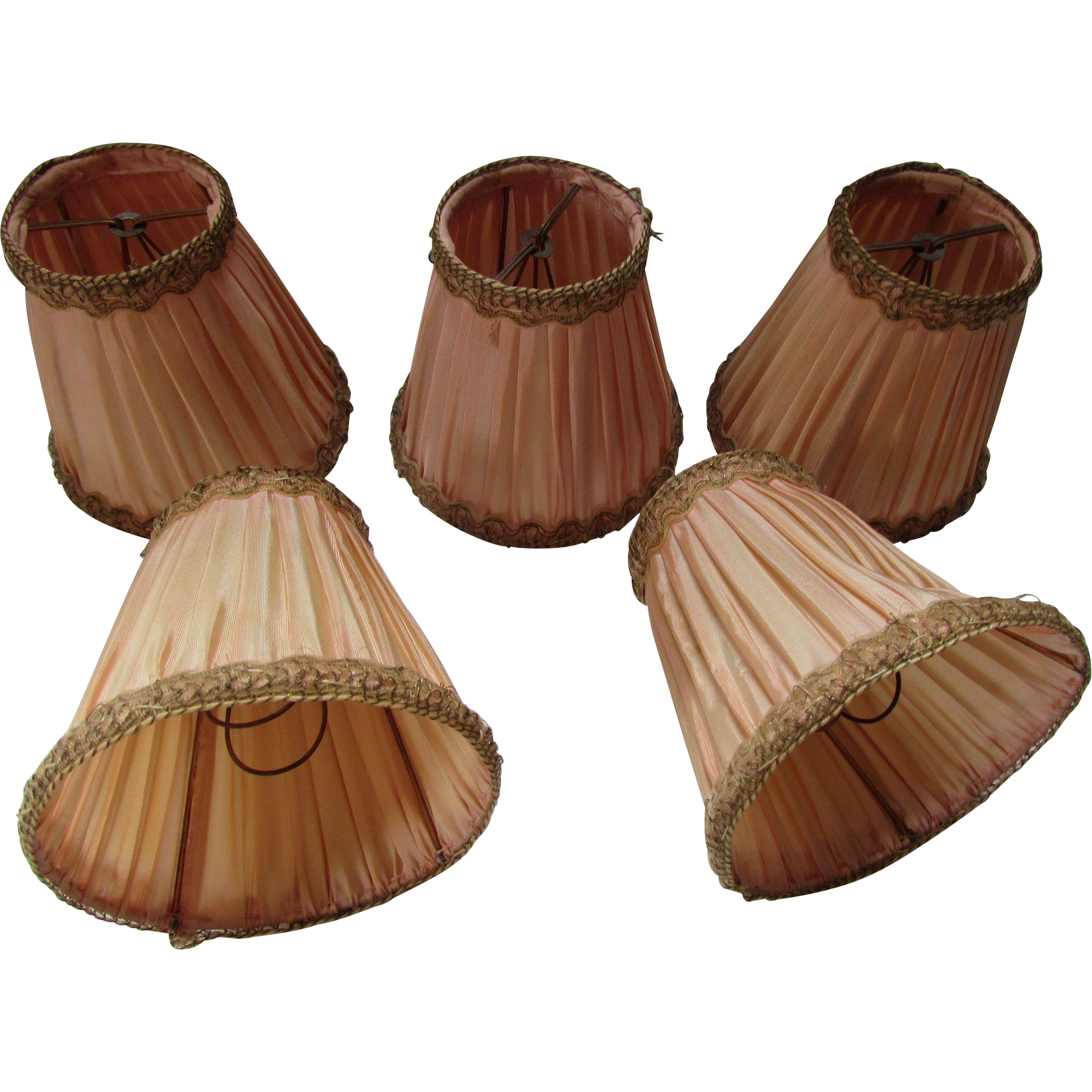 Set Five Deco Style Chandelier Shades Bell Shape Peach Satin Metallic Trim