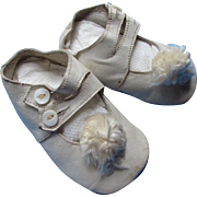 Adorable Vintage Baby or Large Doll Shoes in White with Pom Poms