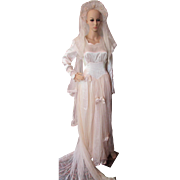 1940's Wedding Dress and Chapel Veil in Candlelight Satin