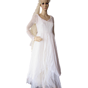1970 Era Wedding Dress with Lace Overdress and Satin Underliner