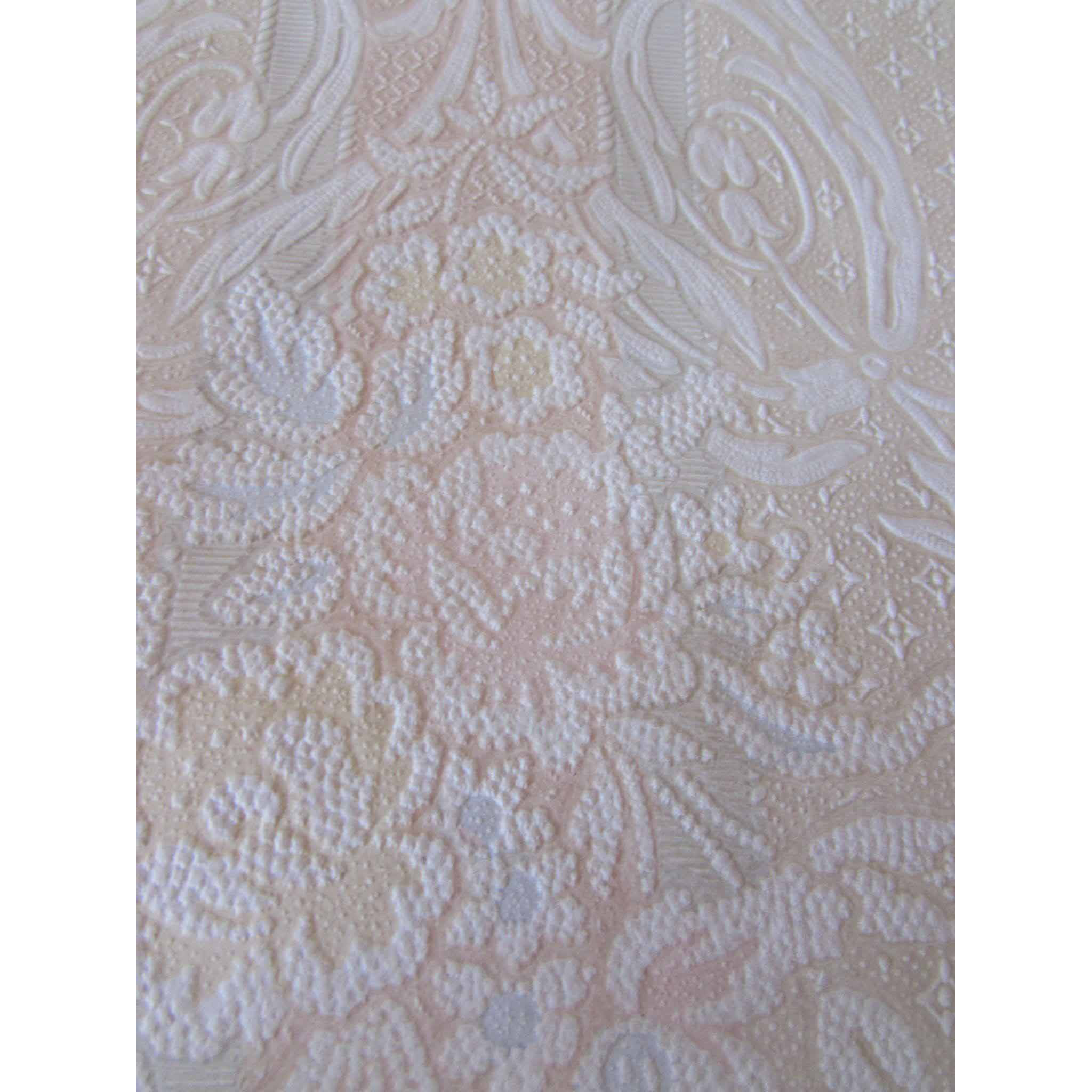 1950 Era Flocked Wallpaper in Muted Pastels and Baroque Design Wedding Shabby Chic Cottage Style