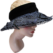 Open Crown Summer Spring Hat in Black Weave with Velvet Band Garden Party