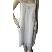 Embroidered Muslin Full Apron Tea Pot and Cup 1920 1930 Style