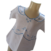 Sweet Child Dress with Blue Embroidery 1920 1930 Style