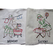 Embroidered Days of the Week Kitchen Towels with Poodle Theme