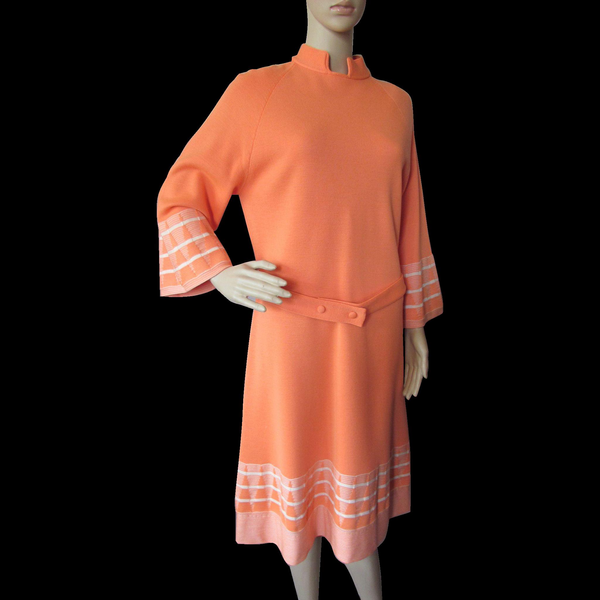 Trendy 1970 Era Dress in Citrus Orange Wool with Flared Sleeves Italy Cadillac Venezia New York