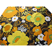 Pair 1970 Style Pop Art Fabric or Table Cloths in Yellow and Orange Poppies on Black