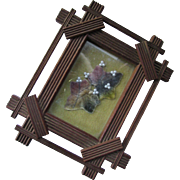 Small Wood Cross Frame with Velvet Flowers in Plum and Green