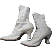 Victorian Edwardian White Leather High Top Shoes Lace Up E P Reed Co. Rochester NY