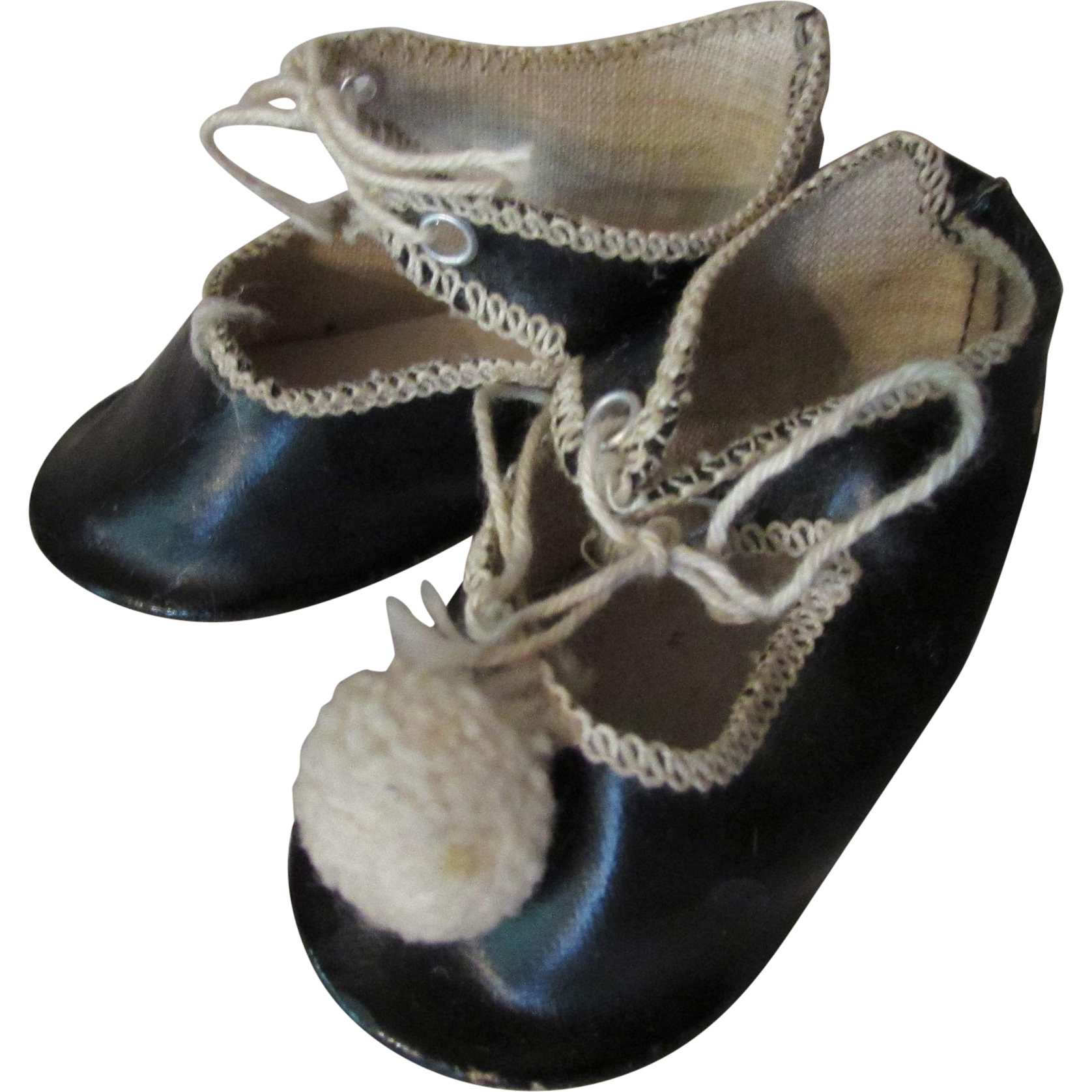 doll shoes germany in black with white stitching from
