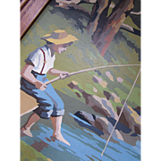 Paint by Numbers Framed Boy Fishing in Field and Stream Theme