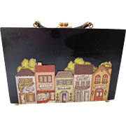 Black Wood Box Purse with Town Scape of Roselle Illinois Applique Armoire North Canton Ohio