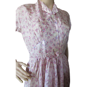 Summer Dress in Tissue Pink with Blue Sprigs Mid Century Hand Made