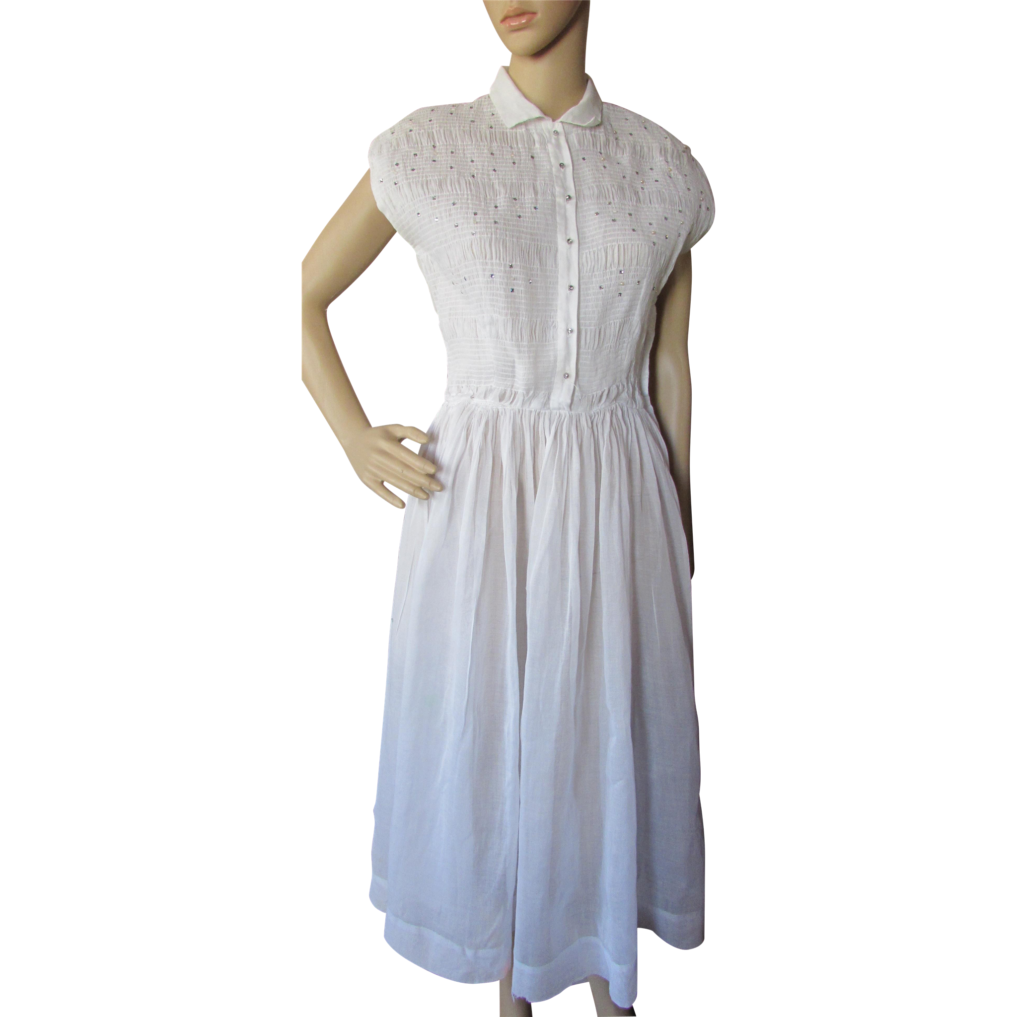 Mid Century Summer Dress in White Organdy with Smocked Bodice Rhinestones Faux Pearl Trim Junior House