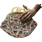 Vintage 1940 Style Purse with Butter Tone Plastic Frame and Caviar Bead Studded Print Body