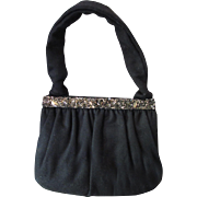 Black Fabric Purse with Repousse Floral Frame by Charlet