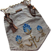 Arts & Crafts Style Embroidered Linen Work Bag