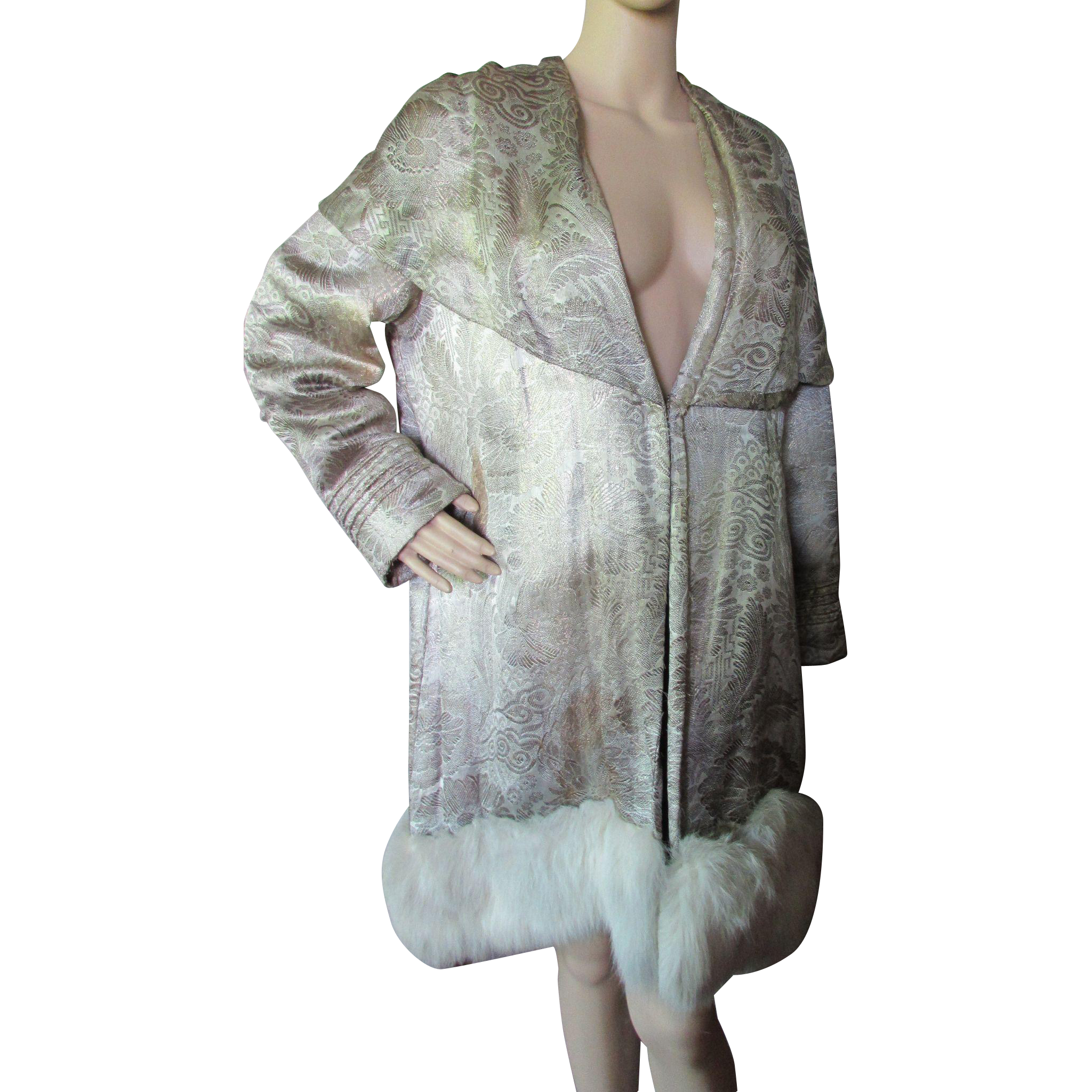 1920 Era Deco Opera Coat in Metallic Brocade and Fur Franklin Simon Company
