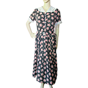 1940 Era Day Dress Black with Red Blossoms by Queen Make