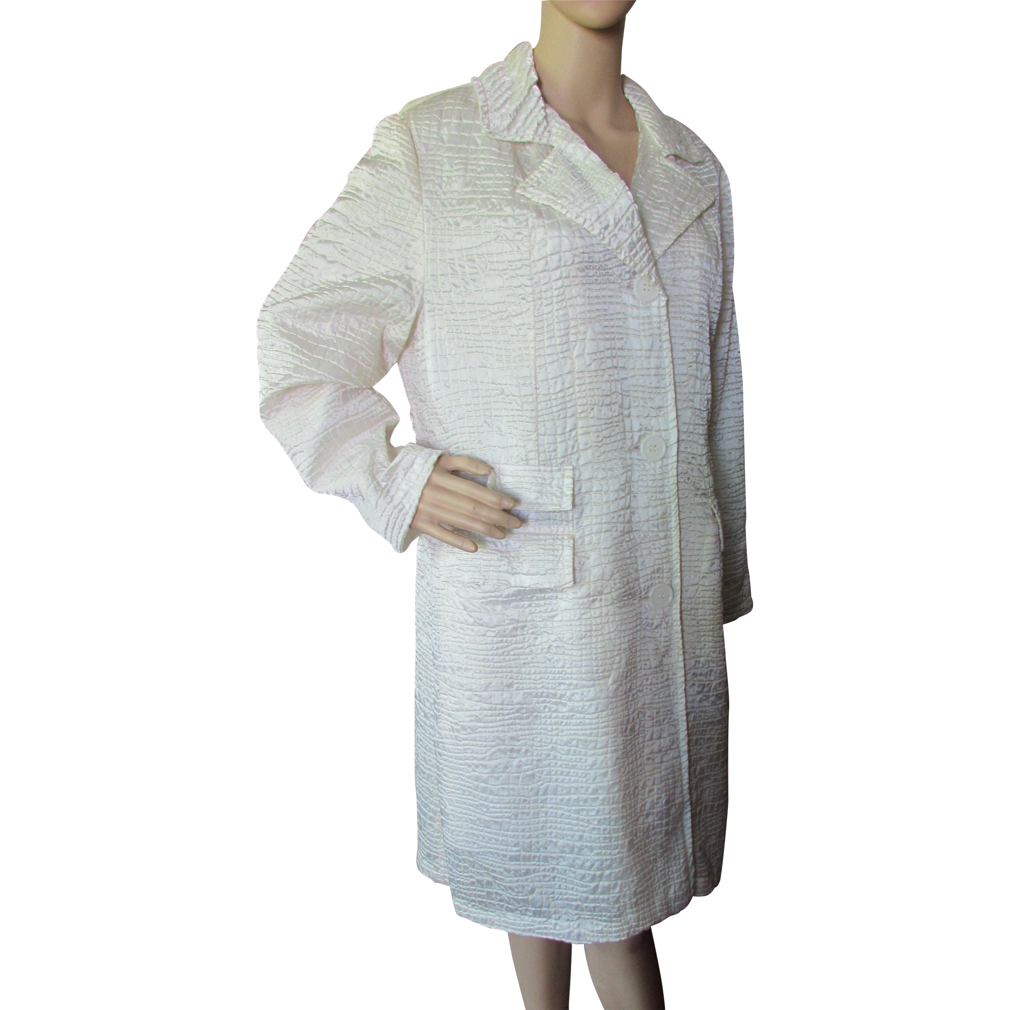 Trench Coat in Alligator Texture Shiny White '80's/'90's