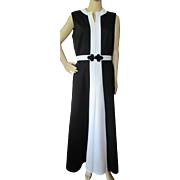 Striking Black and White '70's Era Maxi Dress Mod Style by Toni Todd