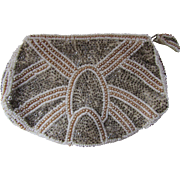 Deco Style Silver Tone Beaded Clutch Purse for Evening Hand Made in Belgium